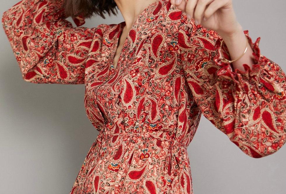Vestido camiseiro Rojo print Paisley Meisie