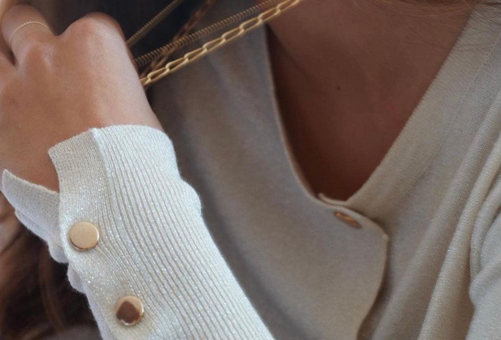 Casaco malha brilho pérola Meisie I Meisie lurex knit cardigan