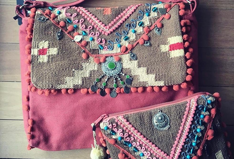 Saco com alça rosa Luna - Boho pink bag