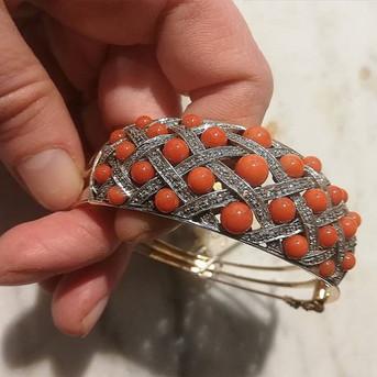 #bracciale#oro#corallo#rosette#diamanti#