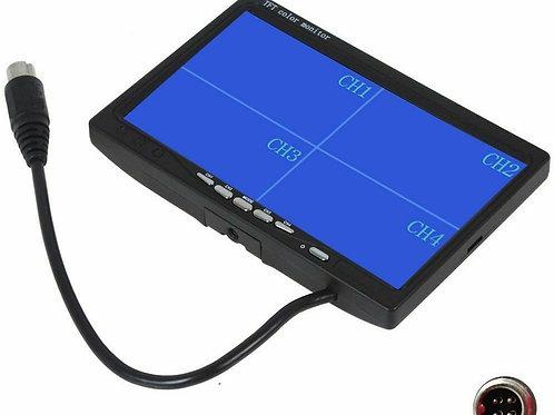 """FP 7"""" TFT LCD Rear View Quad Split Monitor 4 Channels Truck 4-PIN Aviation Plug"""