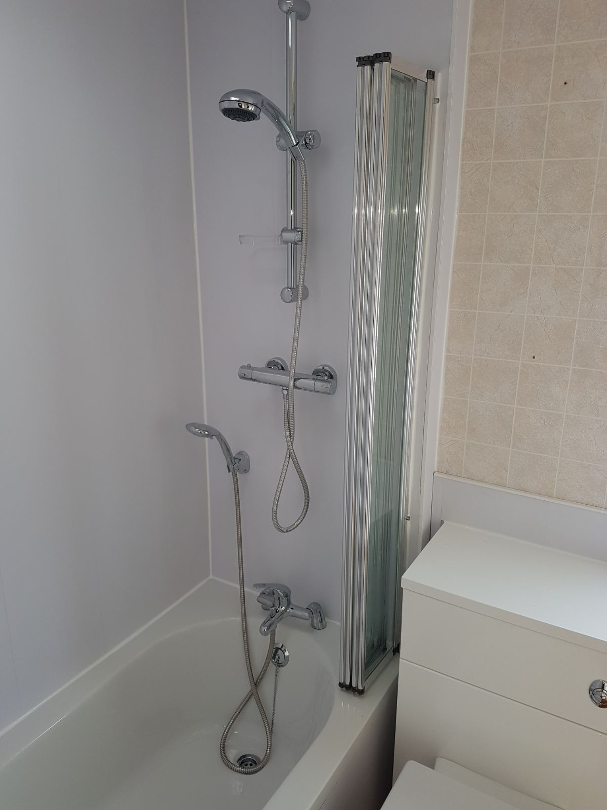 Shower fitted in static caravan