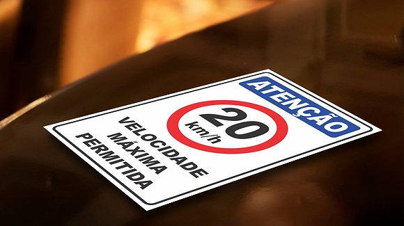 Placa PVC Velocidade 20 Km