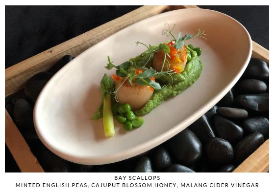 Bay Scallops Minted English Peas, Cajupu