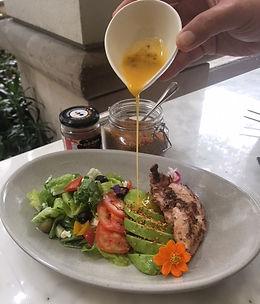 Honey chicken with Kale pesto, avocado and tossed romain