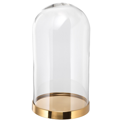 Glass Dome with Gold Base