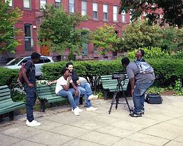 Interviewing the director.  Photo by Brad Ziegler