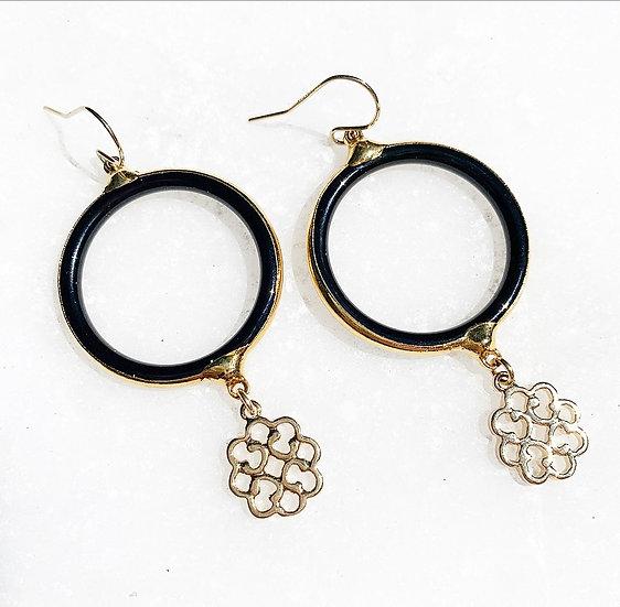 Black Onyx and Gold Earrings