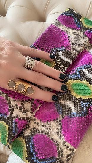 Pink Moonstone 3 Stone Ring