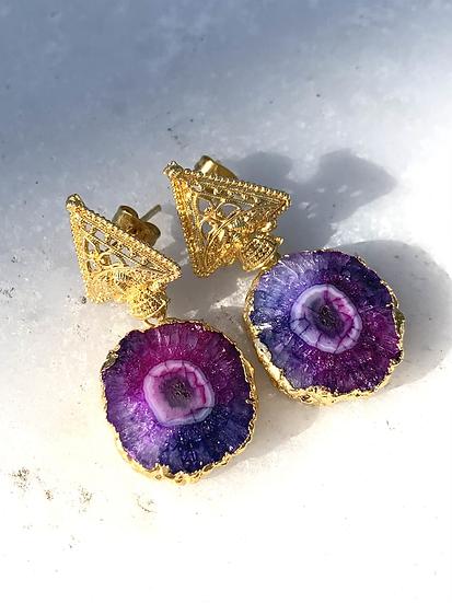 Fuschia and Purpled Solar Quartz Earrings