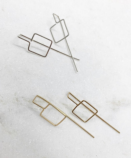 Gold and Silver Square Wire Earrings