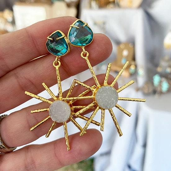 Aqua Sunburst Earrings