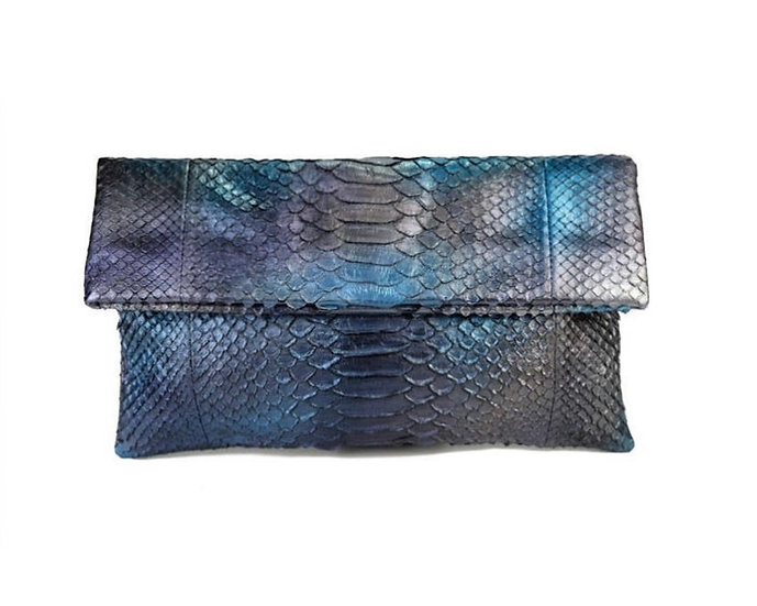 Metallic Peacock Colored Clutch