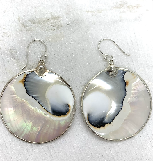 Sterling and Oyster Shell Earrings