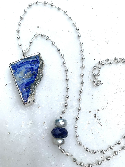 Lapis and Pyrite in Sterling Silver Necklace