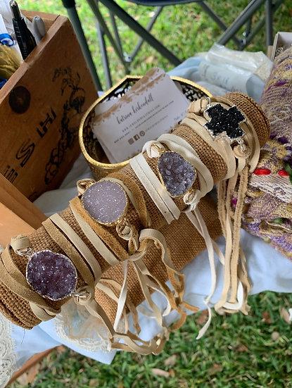 Leather druzy wrap bracelets