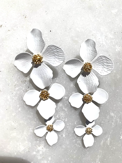 White stacked flower earrings