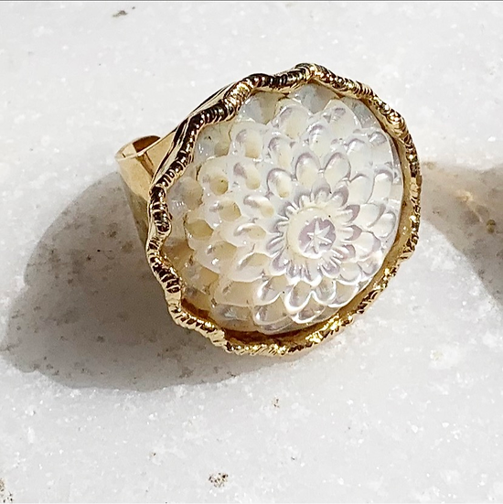 Mother of Pearl Flower Ring on Cigar Band
