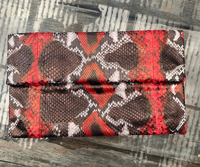 Red, bronze and White Clutch