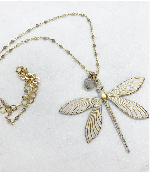 Silverite Dragonfly Necklace