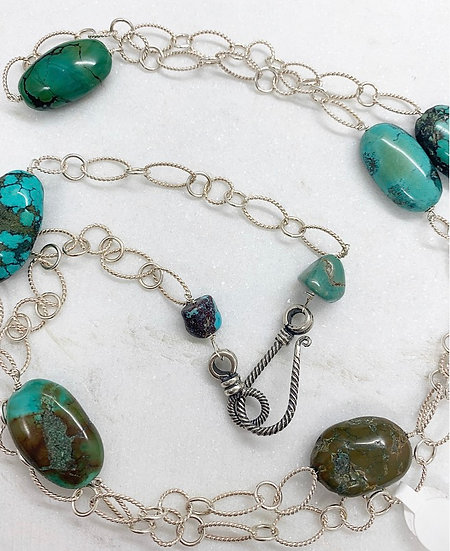 Sterling and Turquoise Rock Necklace