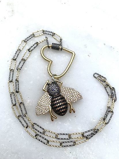 Bee Pave' and Paperclip Chain Necklace