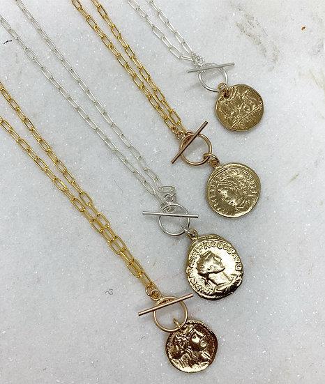 Roman Medallion on Paperclip chain