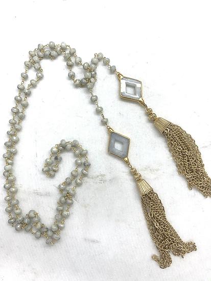 Silverite Tassel Tie Necklace