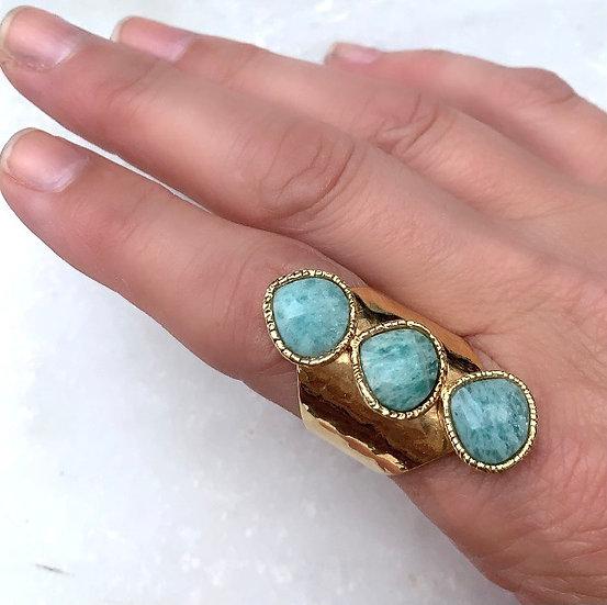 Three Stone Amazonite Ring