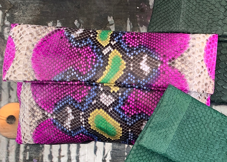 Hot Pink and Lime Green Snakeskin Clutch