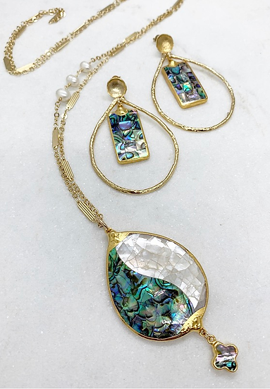 Abalone Earrings or Necklace
