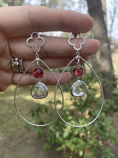 Ruby silver Hoops