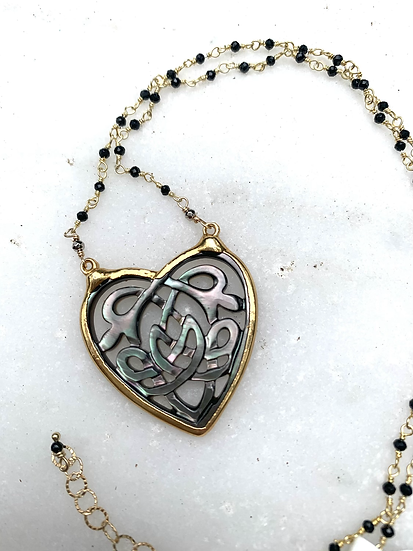 Black Shell Heart Necklace