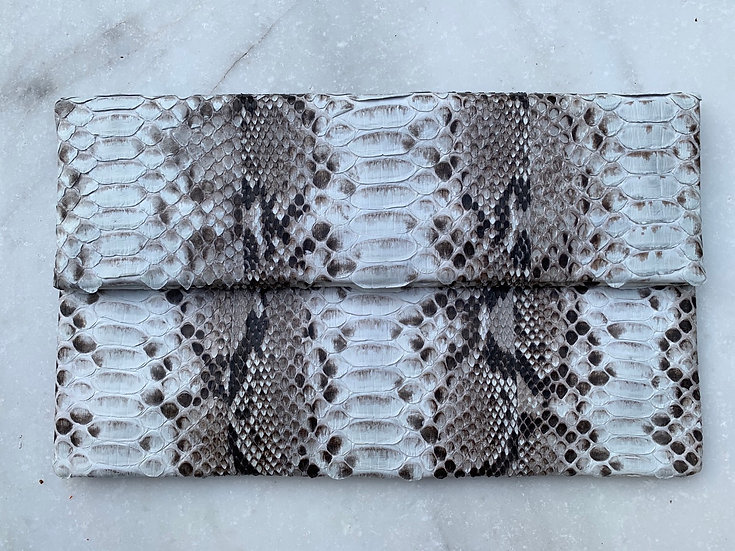 Natural White and gray Clutch