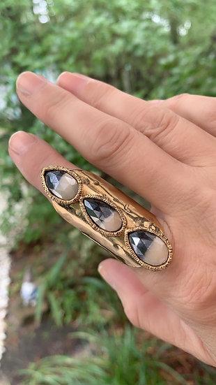 Mystic Moonstone Three Stone Ring