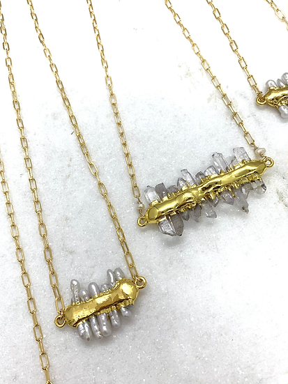 Crystal or Pearl Bar Paperclip Necklace