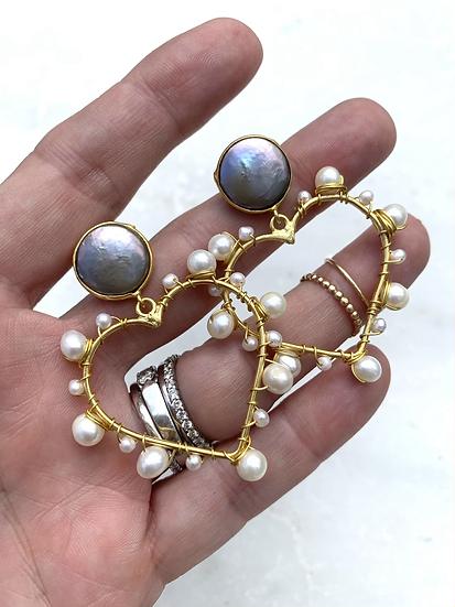 Valentine Heart Pearl Earrings