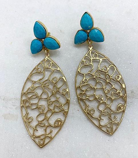 Turquoise flower Filigree Earrings