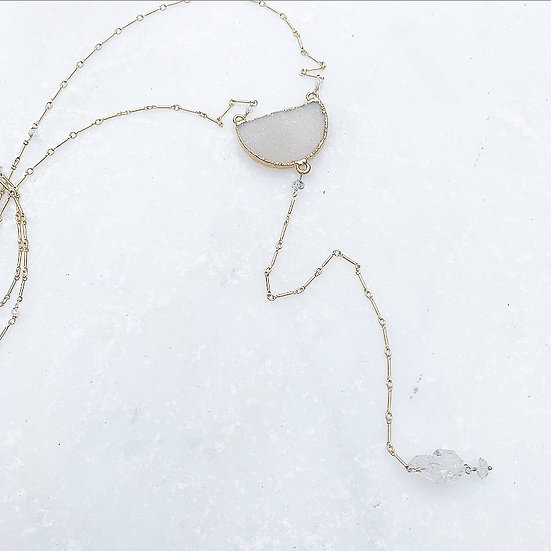 Natural Druzy Y Necklace