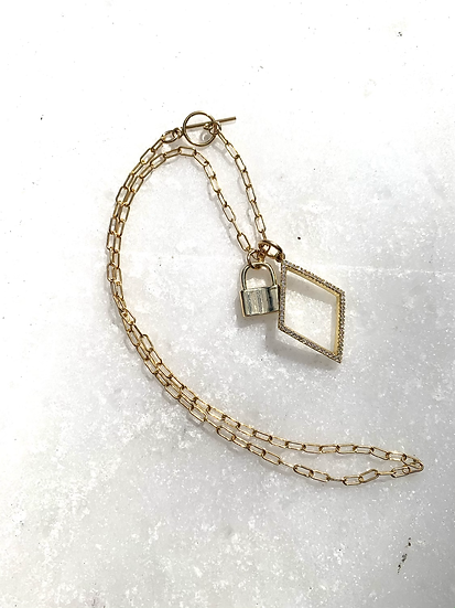 Gold Paperclip Chain Necklace with Lock and Pave' Diamond