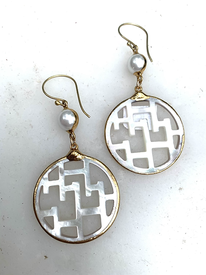 Stacked Mother of Pearl Earrings