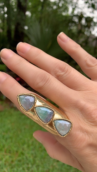 Mystic Green Moonstone Three Stone Ring