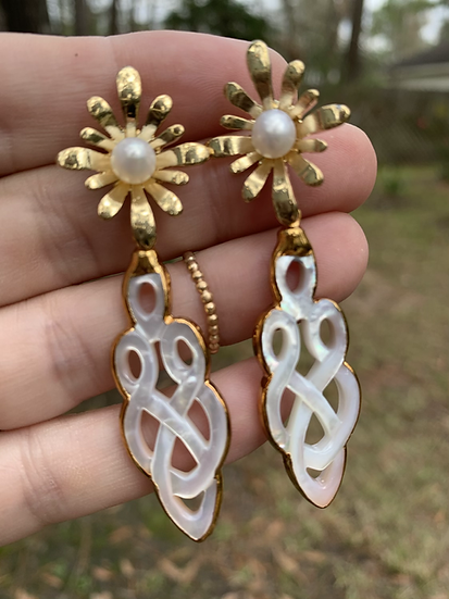 Gold Mother of Pearl Earrings