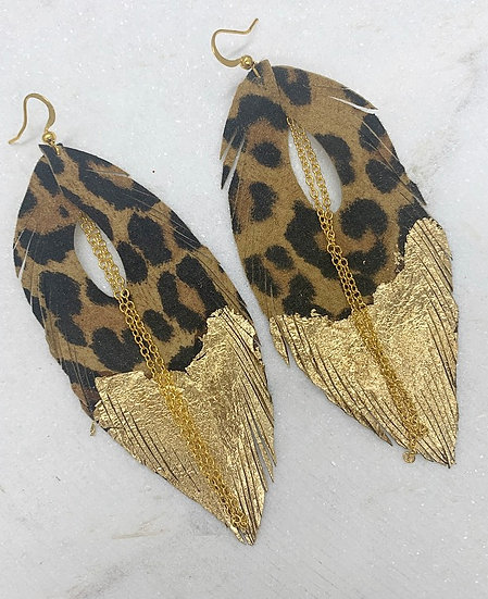 Leopard and Gold Leather Feather Earrings