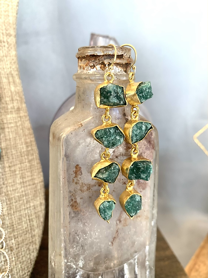 Emerald Green Crystal Stacked Stone Earrings