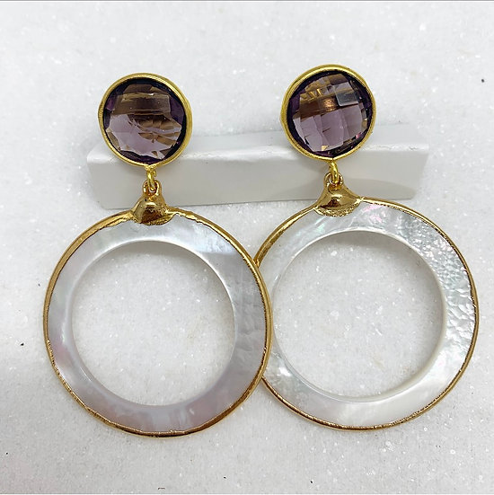 Plum and Mother of pearl Earrings