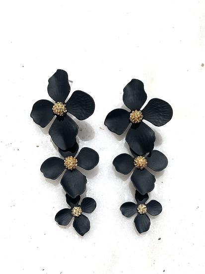 Black stacked flower earrings