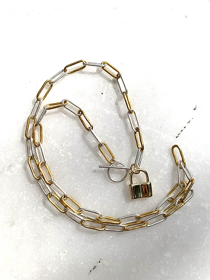 Gold and sterling Paperclip Necklace