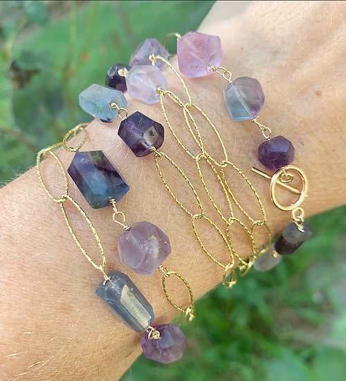 Amazing Purple and Blue Fluorite Bracelet and Necklace Wrap