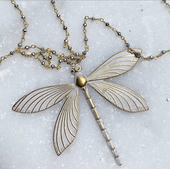 Pyrite Dragonfly Necklace